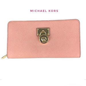 Michael Kors Zip Around Saffiano Leather Wallet L